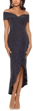 Xscape Evenings Metallic Off-The-Shoulder Dress