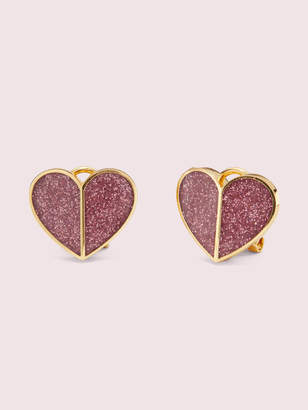 Kate Spade heritage spade glitter heart statement studs