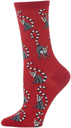 Hot Sox Women's Lemur-Print Crew Socks