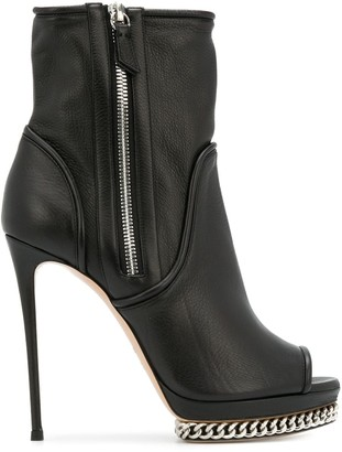 Casadei open toe ankle boots