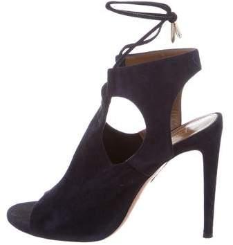 Aquazzura Cutout Suede Sandals
