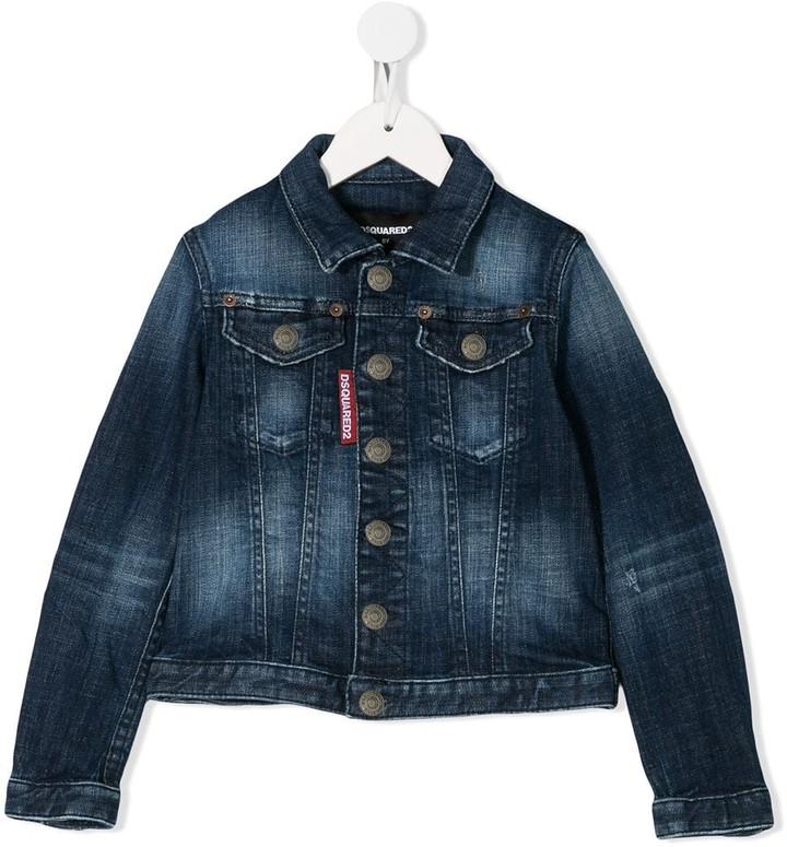 Infant Boys Franklin And Marshall Faded Denim Jacket In Denim Press Stud