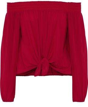 Bailey 44 Regatta Off-The-Shoulder Knotted Stretch-Jersey Top