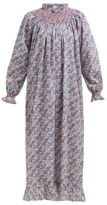 Loretta Caponi - Smocked Floral-print Cotton Maxi Dress - Womens - Pink Multi