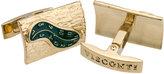 Visconti Melting Clock Enamel Cuff Links, Gold/Green
