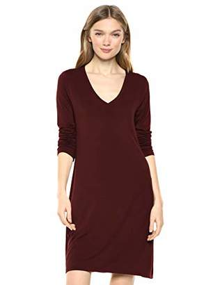 Daily Ritual Jersey Long-Sleeve V-Neck T-Shirt Dress Casual,Medium