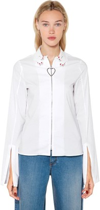 VIVETTA Hands Collar Heart Zip-up Poplin Shirt