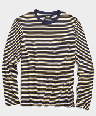 Todd Snyder Nautical Striped Long Sleeve T-Shirt in Navy