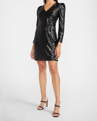 Express Sequin Puff Sleeve Sheath Dress