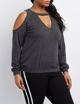 Charlotte Russe Plus Size Cold Shoulder Keyhole Sweatshirt