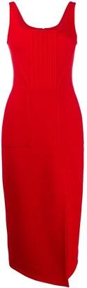 David Koma Thigh Slit Midi Dress