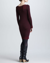 Jean Paul Gaultier Long-Sleeve Striped Wool Dress, Bordeaux/Charcoal