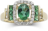 JCPenney FINE JEWELRY 1/7 CT. T.W. Diamond & Emerald 10K Gold Ring