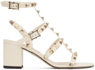Valentino Off-White Garavani Rockstud Block Heeled Sandals