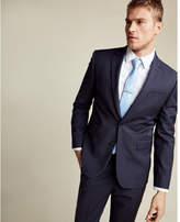 Express slim navy and burgundy plaid wool blend suit jacket