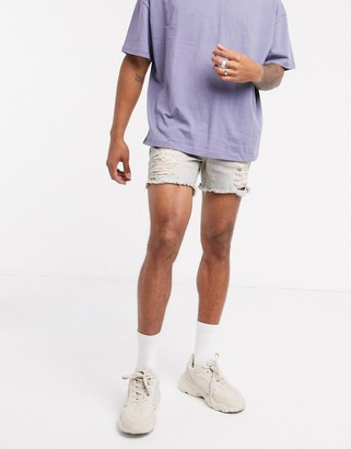 ASOS DESIGN skinny denim extreme short shorts in light wash blue with heavy rips