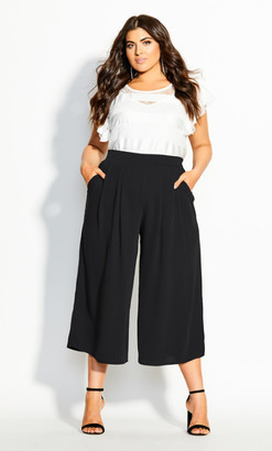 City Chic Crop Palazzo Pant - black