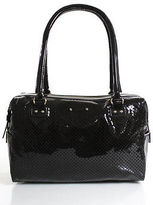 Kate Spade Dark Brown Perforated Patent Leather Satchel Handbag