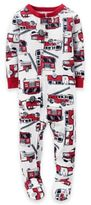 Carter's Zip-Front Red Fire Truck Footed Pajama in White