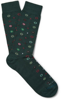 Etro Patterned Stretch Cotton-blend Socks - Dark green