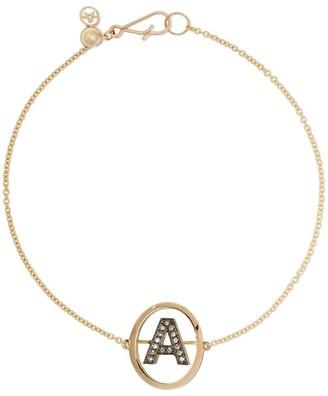 Annoushka 18kt yellow gold diamond initial A bracelet