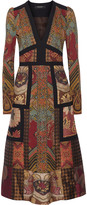 Etro Patchwork printed crepe and jacquard dress