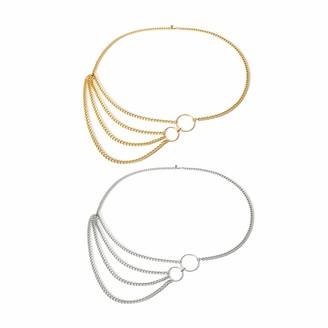 Gomerbesen 2 Pcs Fashion Womens Metal Waist Belt Multi Layer Waistband Chains Geometric