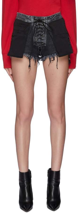 e88c47fa26 Lace Up Denim Shorts - ShopStyle