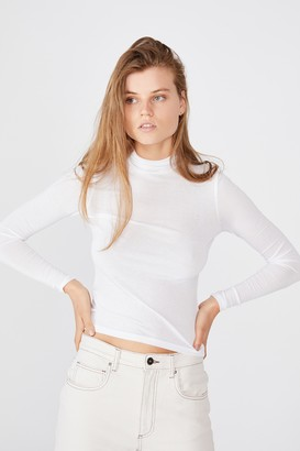 Cotton On Sheer Vintage High Neck Long Sleeve Top