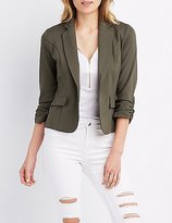 Charlotte Russe Ruched Sleeve Pocket Blazer