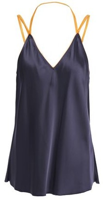Helmut Lang Open-back Organza-trimmed Two-tone Satin Camisole