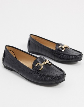 Truffle Collection flat metal trim loafers in black