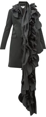 Comme des Garçons Comme des Garçons Scalloped-panel Satin Blazer Coat - Black