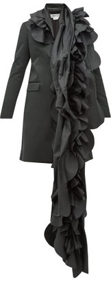 Comme des Garcons Scalloped-panel Satin Blazer Coat - Womens - Black
