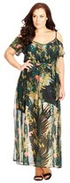 City Chic 'Hidden Panther' Cold Shoulder Maxi Dress (Plus Size)