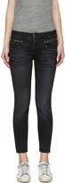 R 13 Black Biker Boy Jeans