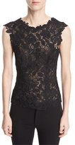 Monique Lhuillier Sleeveless V-Back Floral Guipure Lace Fitted Blouse