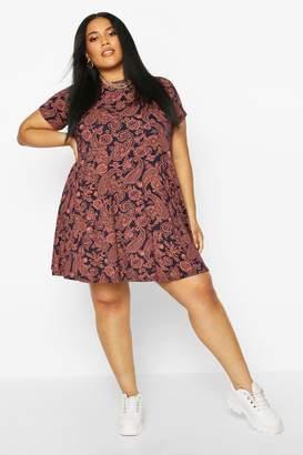 boohoo Plus Cap Sleeve Paisley Swing Dress