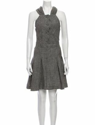 Balenciaga Linen Knee-Length Dress Grey