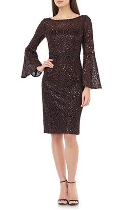 Carmen Marc Valvo Sequin Lace Bell Sleeve Cocktail Dress