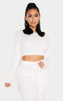 PrettyLittleThing Shape Cream Eyelash Knit Long Sleeve Crop Top