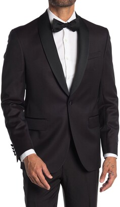 Ted Baker Josh Burgundy Sharkskin One Button Tuxedo Jacket