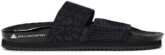 adidas by Stella McCartney Printed Faux Patent-leather, Jacquard And Mesh Slides