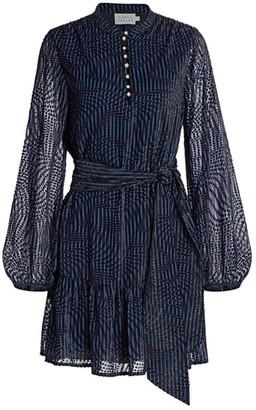 Tanya Taylor Ellette Long-Sleeve Belted Dress