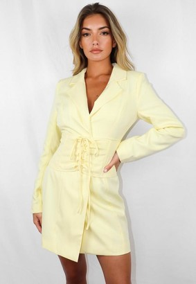 Missguided Lemon Corset Waist Blazer Dress