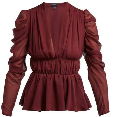 Giambattista Valli Gathered Silk Chiffon Blouse - Womens - Dark Burgundy