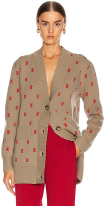 Burberry Monogram Jacquard Cardigan in Archive Beige | FWRD