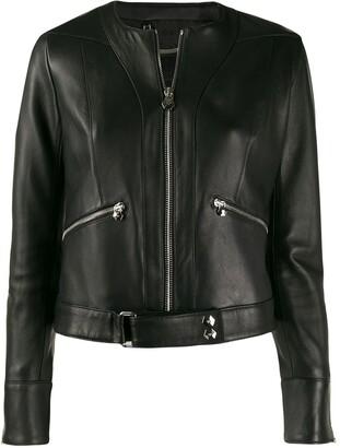 Philipp Plein Zipped Biker Jacket