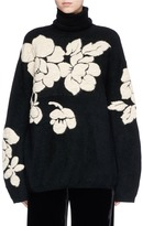 MS MIN Floral intarsia oversized turtleneck sweater