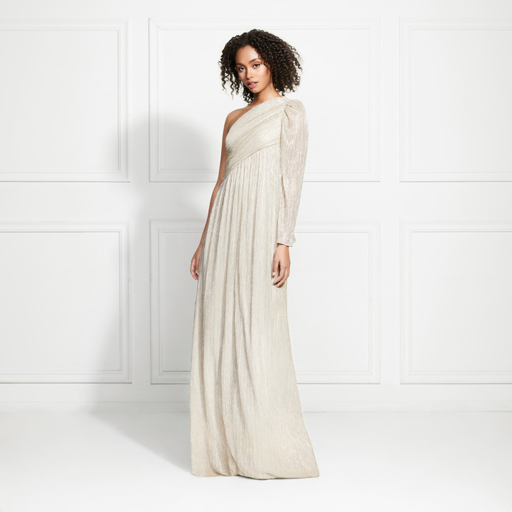 Rachel Zoe Arielle One Shoulder Metallic Pleated Maxi Dress